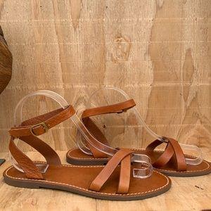 Madewell Cognac Gladiator Leather Sandals
